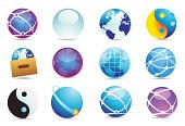 A set of royalty-free world icons in all shapes and sizes and variations.