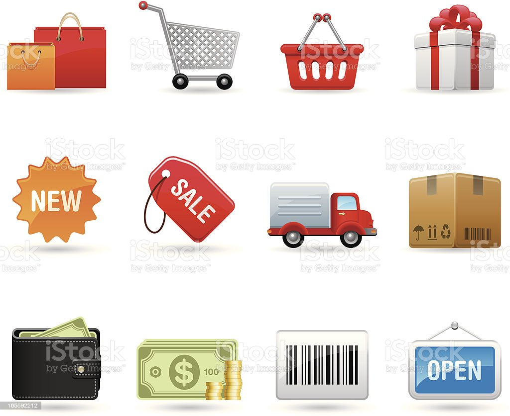 Universal icons - Shopping Universal Shopping icons Bag stock vector