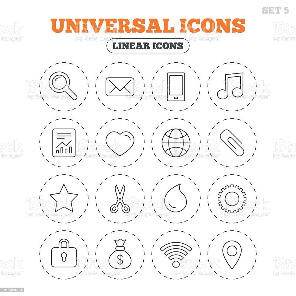 Icone universali. Smartphone, posta e musica. icone universali smartphone posta e musica - immagini vettoriali stock e altre immagini di amore royalty-free