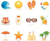 Universal summer vacation icons