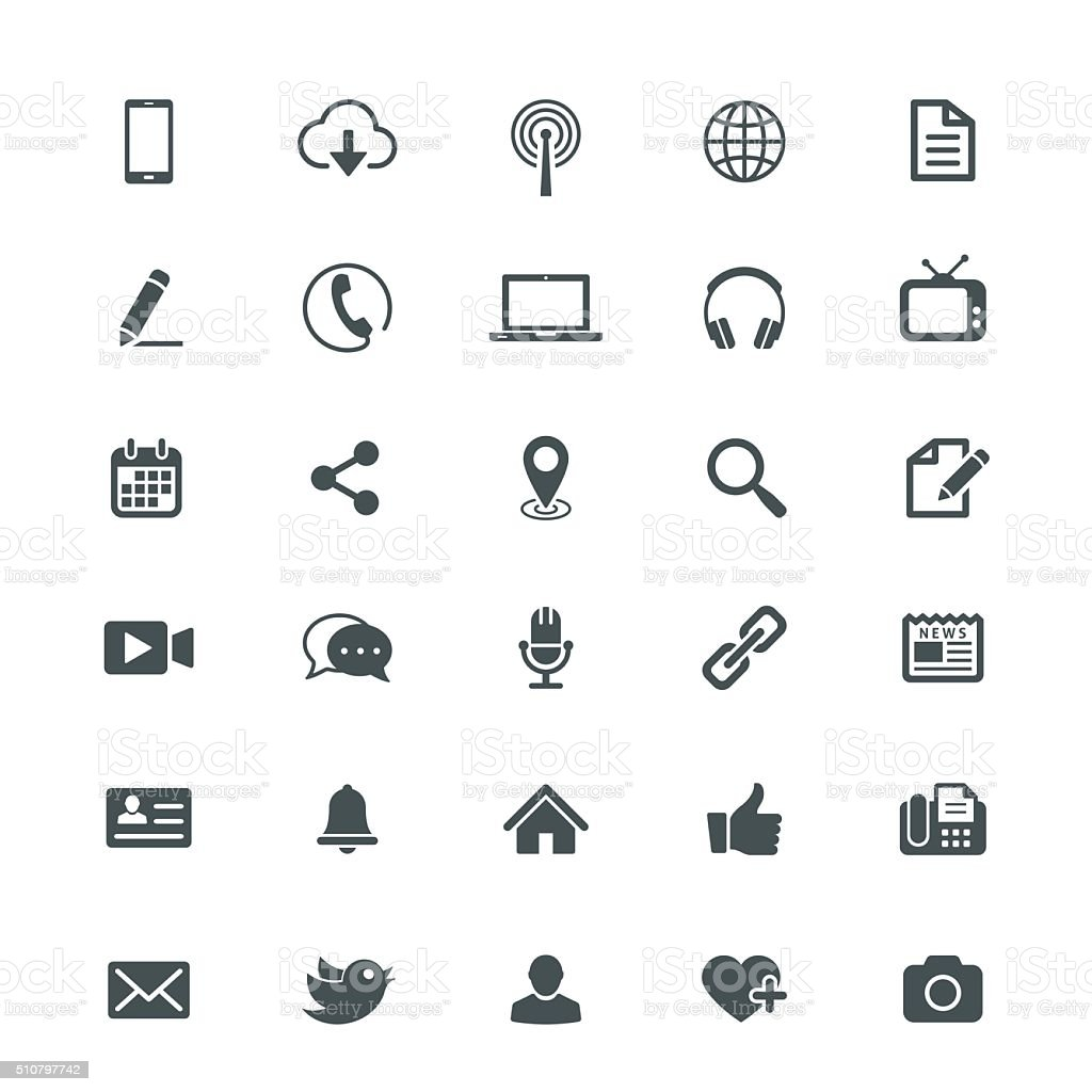 Universal Internet Icon Collection vector art illustration