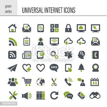 Vector universal internet icon set. Green series