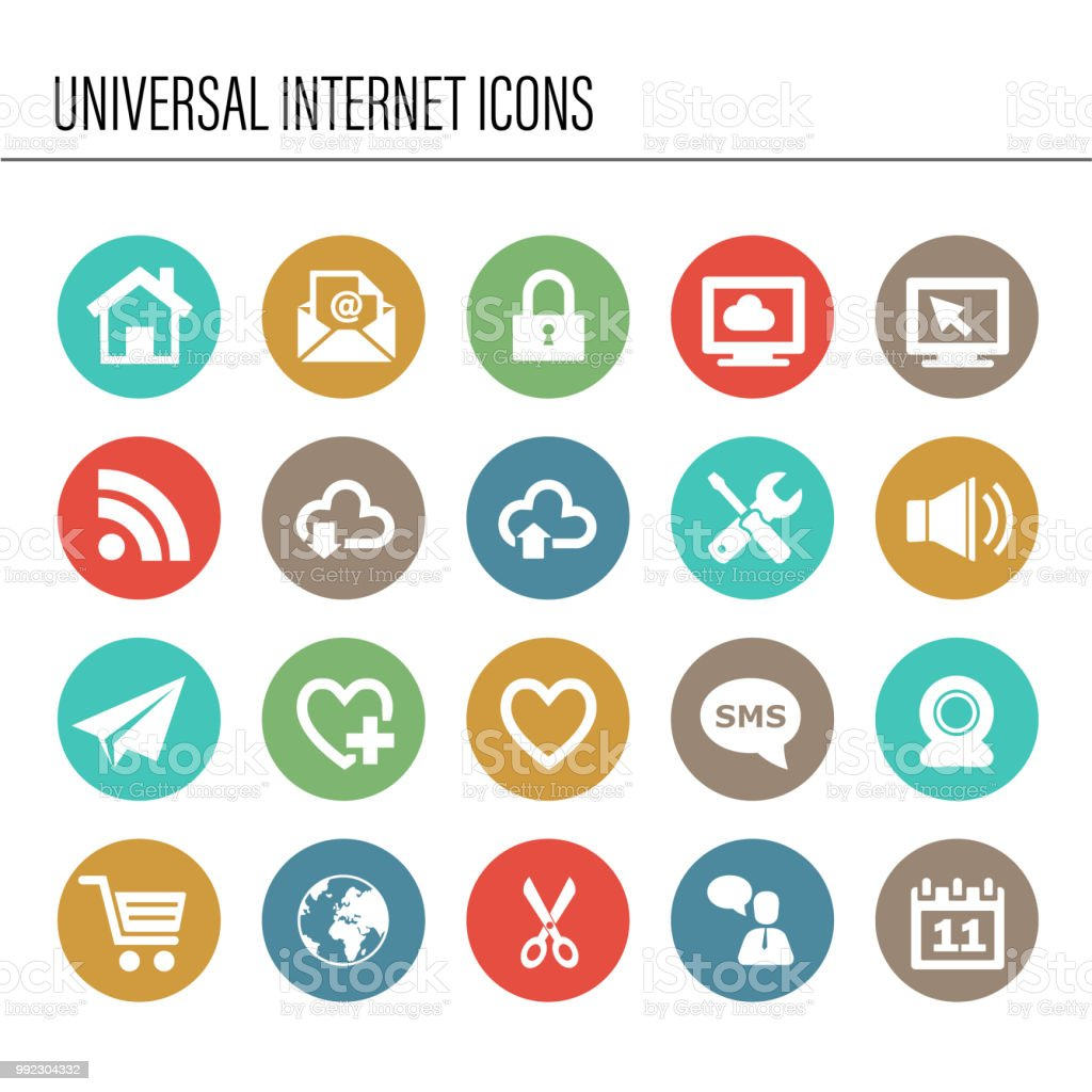 Universal internet icon set vector art illustration