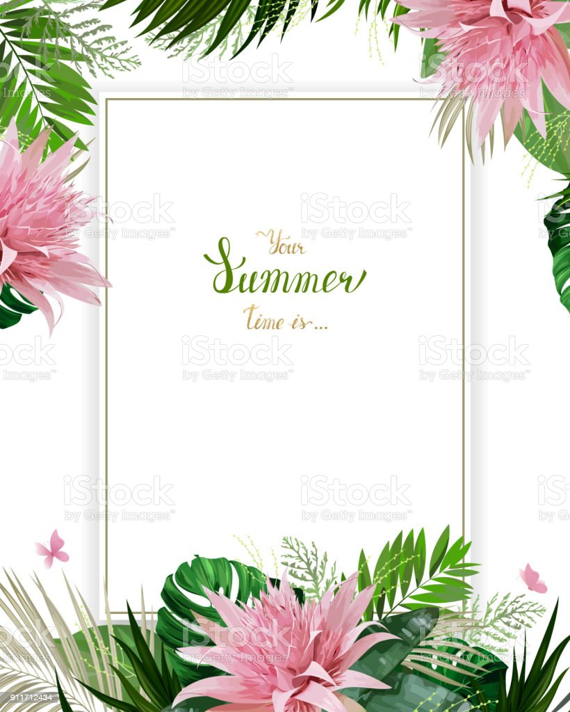 Universal invitation, congratulation card with green tropical palm, monstera leaves and Aechmea blooming flowers on the white background. Holiday banner with place for message on the summer poster.