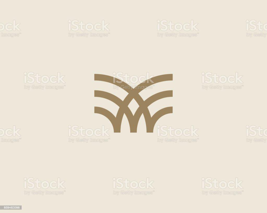 Universal linear icon design. Creative bull horns mark. Luxury letter w wings bird icontype.