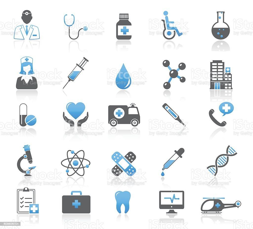 Universal Medical Icons Set vector art illustration