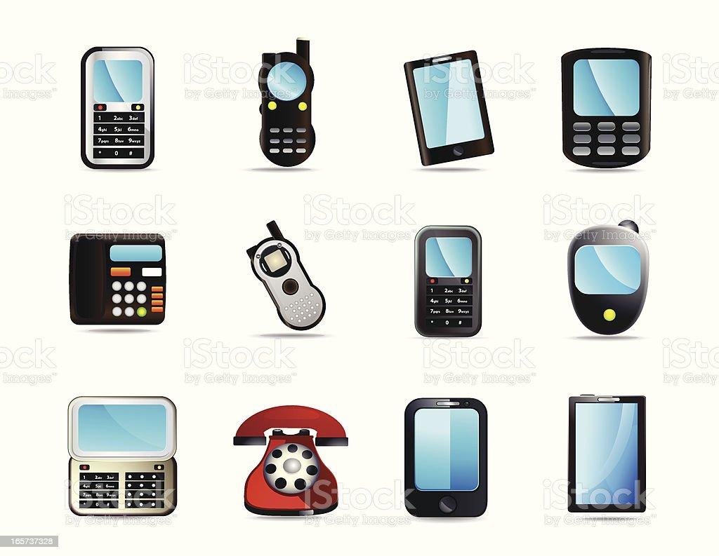 Universal Mobile Phone Icons vector art illustration