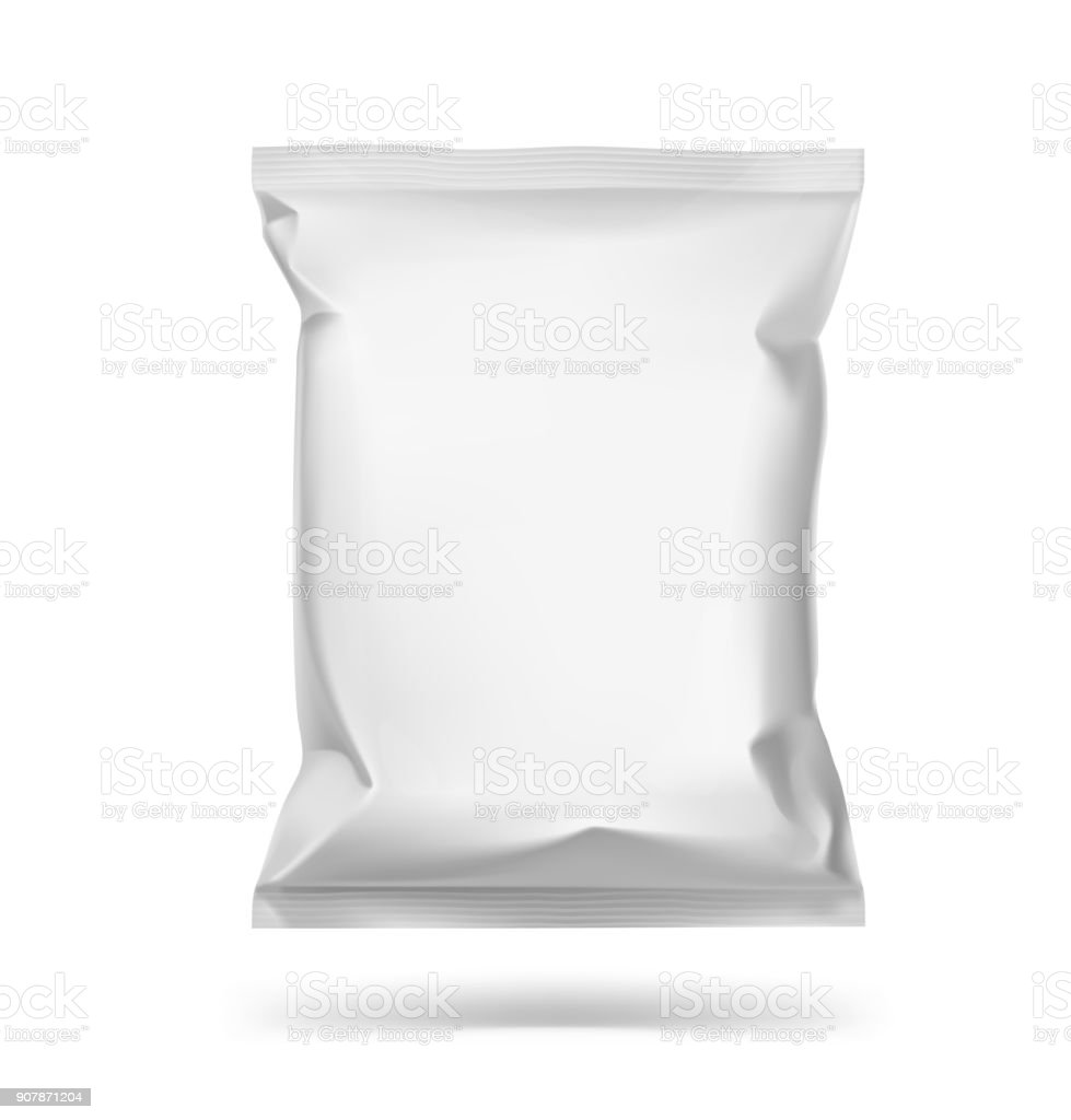 Universal mockup of food snack pillow bag on white background.