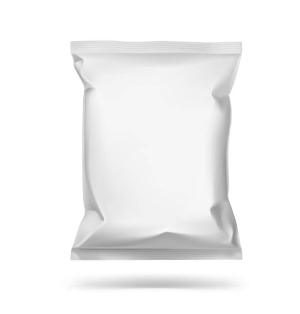 universal mockup of food snack pillow bag on white background. - torba stock illustrations