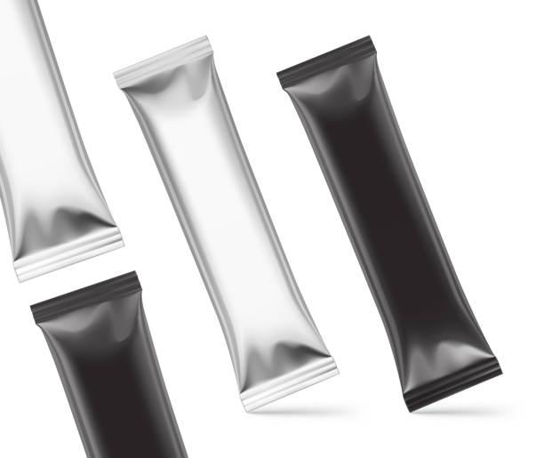 ilustrações de stock, clip art, desenhos animados e ícones de universal mockups of blank packaging sticks. - café solúvel