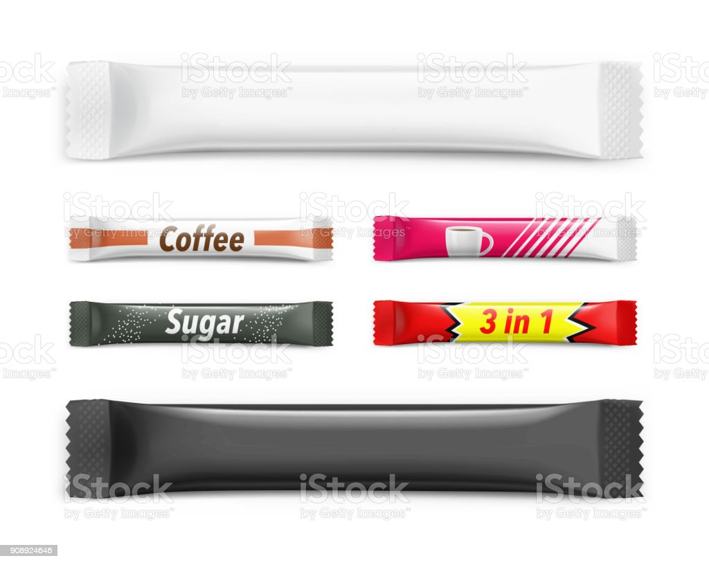 Universal mockups of blank packaging sticks with examples. vector art illustration