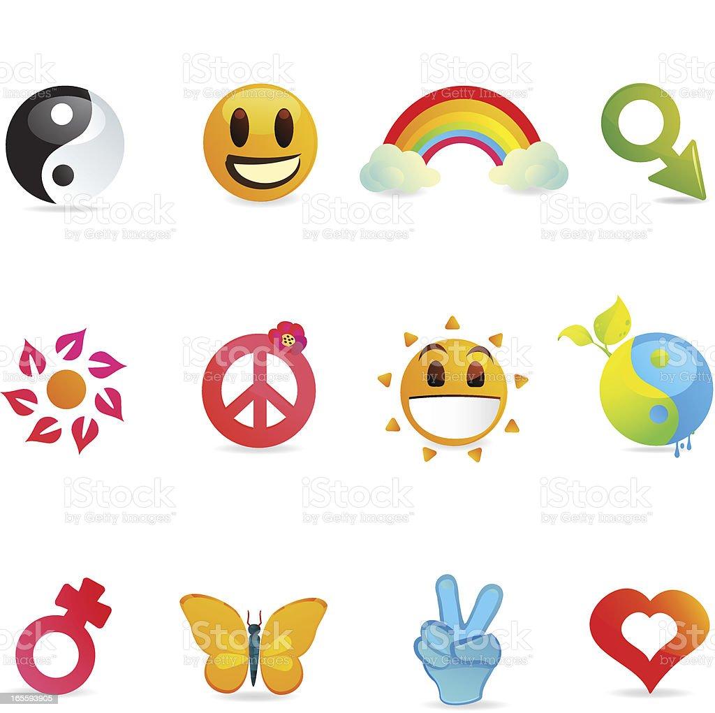 Universal Peace & Love Icons vector art illustration