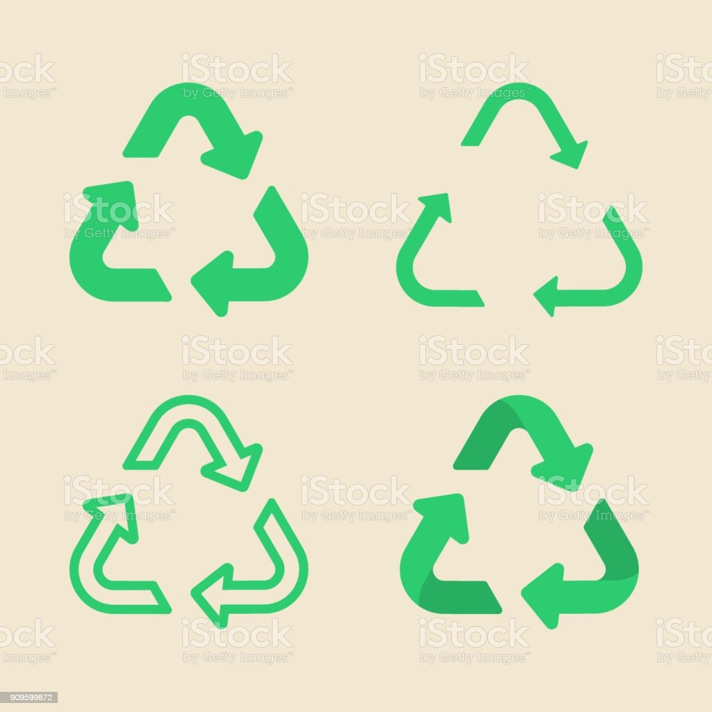Universal recycling symbol flat icon set