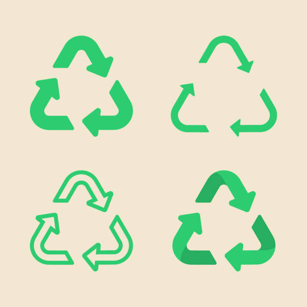 universal recycling symbol flat icon set - recycling stock illustrations