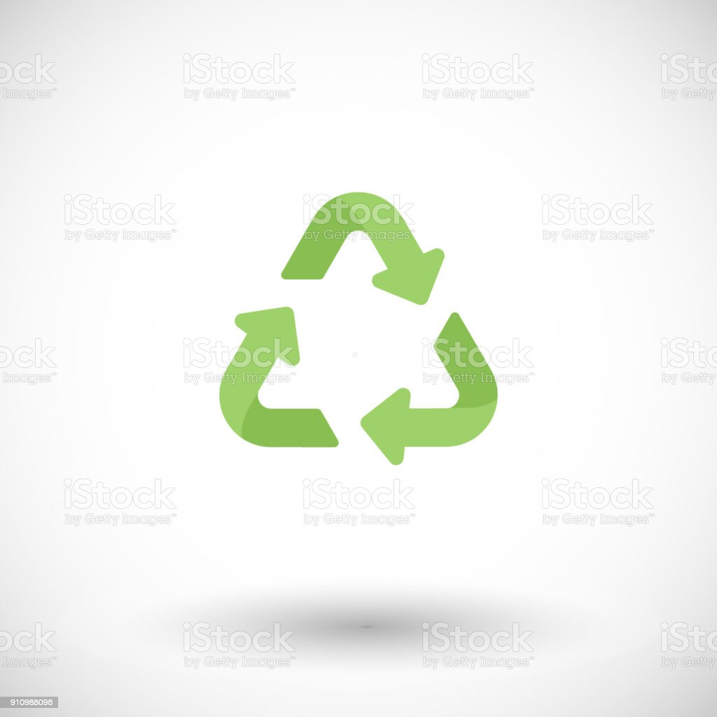 Universal Recycling Symbol Flat Icon Stock Vector Art More Images
