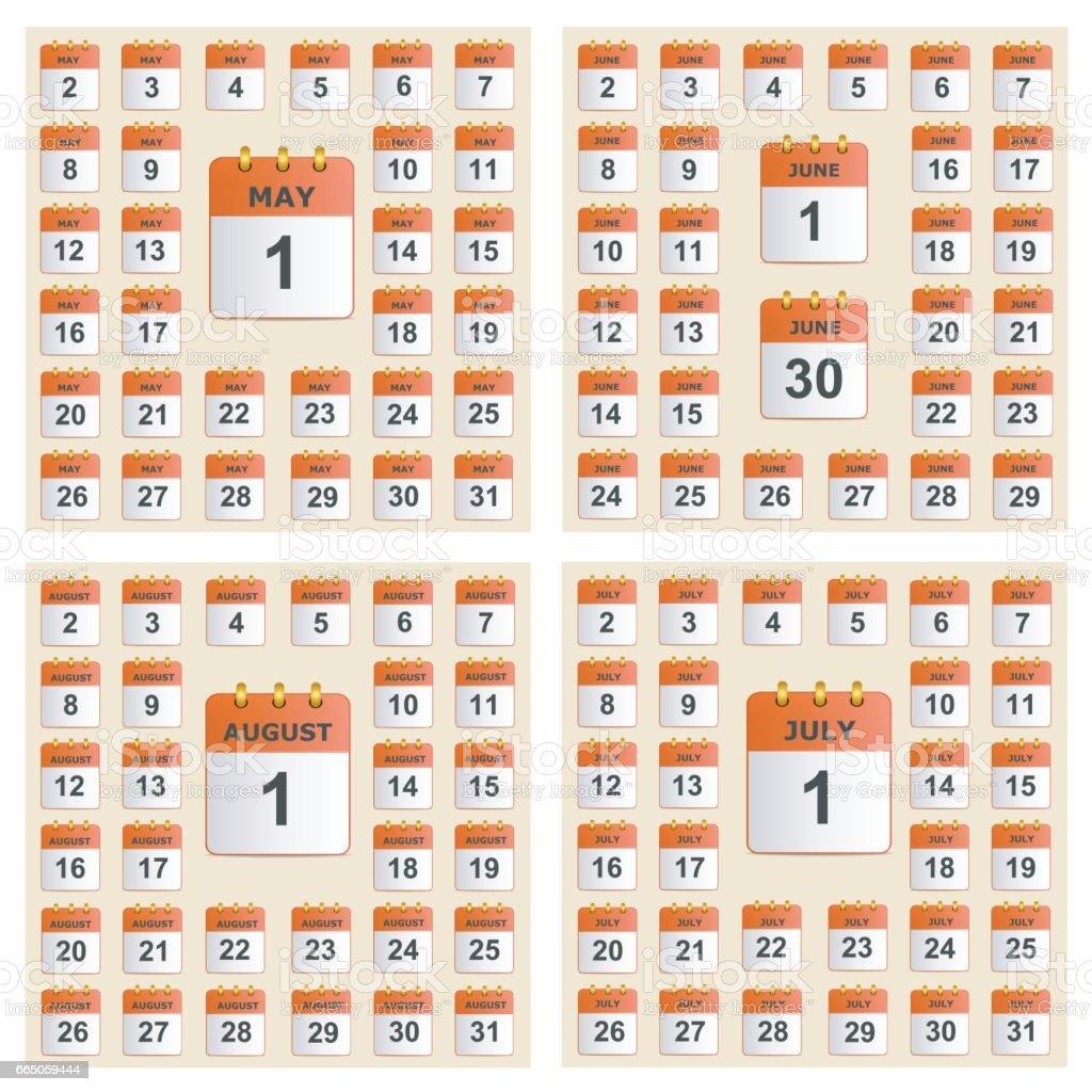 Universal-Set der Wandkalender von Mai bis August. – Vektorgrafik