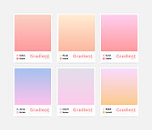 Universal vector gradient set. Smooth easy transition in trendy colors, just pick it with eyedropper tool and apply to your design. All palettes are in swatch panel