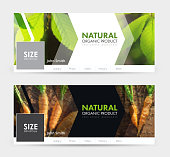 Design of a white and black banner for social networks with a place for the image. Universal Template cover  for advertising of natural products, harvest, agriculture. Blurred photo for sample