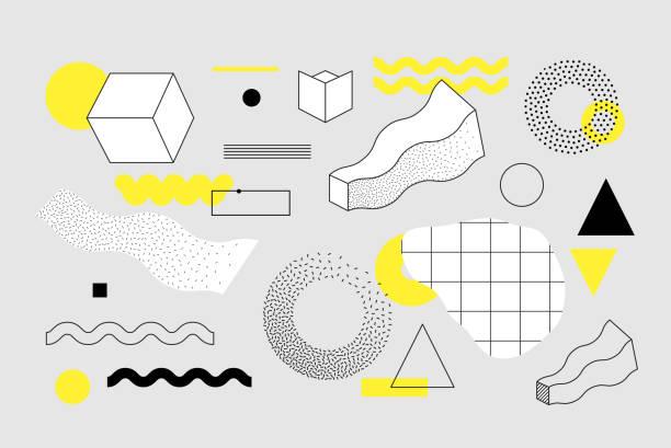Geometrische Formen-Set Universal trend – Vektorgrafik