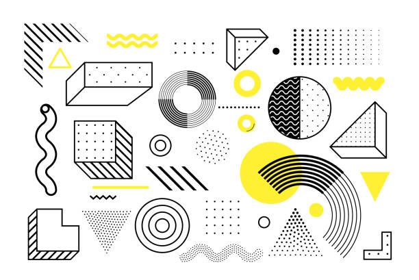 geometrische formen-set universal trend - designelement stock-grafiken, -clipart, -cartoons und -symbole