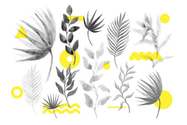 Universal trend halftone floral shapes set Universal trend halftone floral set juxtaposed with bright bold geometric leaves foliage yellow elements composition. Design elements for Magazine, leaflet, billboard, sale youth culture stock illustrations