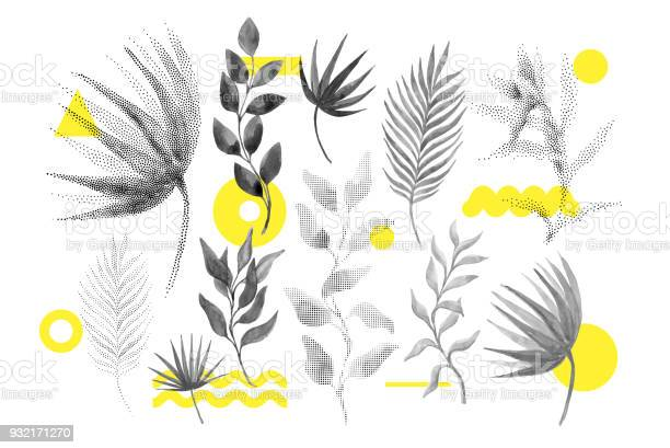 Universele Tendens Halftone Bloemen Vormen Ingesteld Stockvectorkunst en meer beelden van 1990-1999