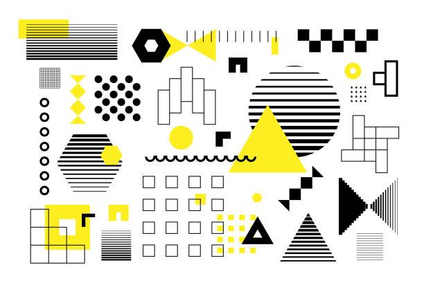Universelle Trendhalfton-geometrische Formen setzen sich – Vektorgrafik