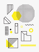 Universal trend poster. Linear geometric shapes set with halftone elements, bright bold yellow decorative composition. Design for Magazine, music festival, leaflet, billboard, sale