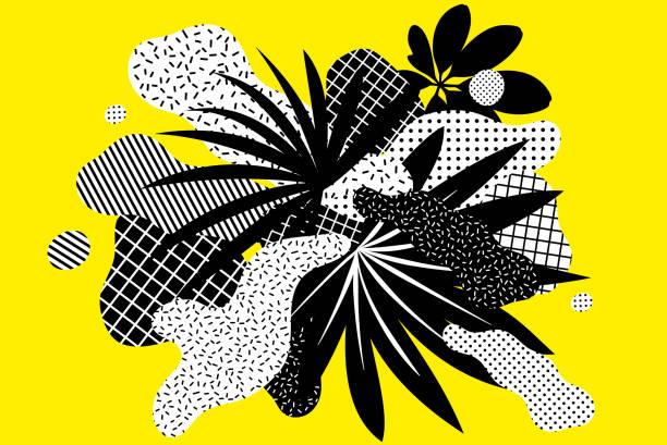 Universelle trendige Grafikelemente Set mit hellen kühnen floralen Zusammensetzung gegenübergestellt – Vektorgrafik