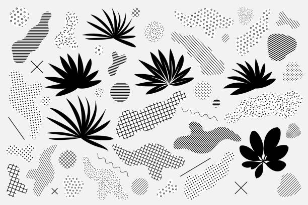 Universelle trendige Grafikelemente-Set mit floraler Komposition gegenübergestellt – Vektorgrafik