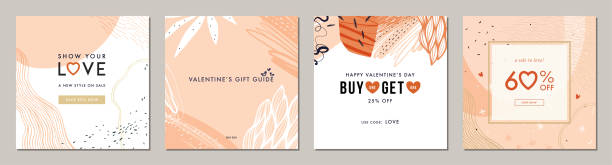 Universal Valentine's Templates_05 Happy Valentine's Day greeting cards. Trendy abstract square art templates. Suitable for social media posts, mobile apps, banners design and web/internet ads. fashion stock illustrations