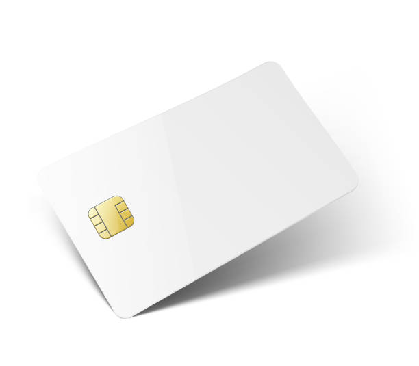 universal vector mockup of plastic card with realistic shadow and chip isolated on white background. - credit cards stock illustrations, clip art, cartoons, & icons