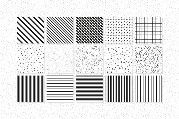 Universal vector seamless patterns set of simple elements Universal vector seamless patterns set of simple elements. Classical bright stylish trendy trendy youth background for any print, web, design projects hyphen stock illustrations
