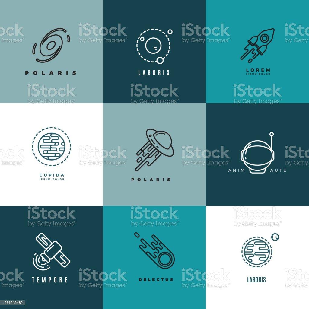 Universo astronomia fina linha e Ícones Vetorizados conjunto de etiquetas - ilustração de arte em vetor