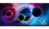 Colorful space background with many stars and planets.  10 eps.