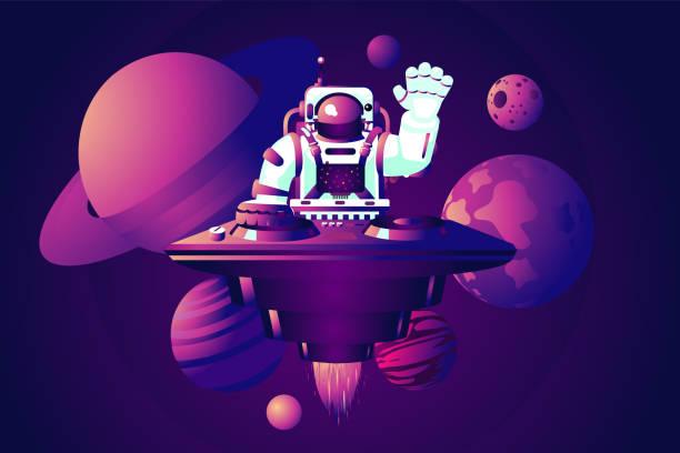 universe party. dj-astronaut. musik-tanz-event. vektordarstellung mit leerstand. - edm stock-grafiken, -clipart, -cartoons und -symbole