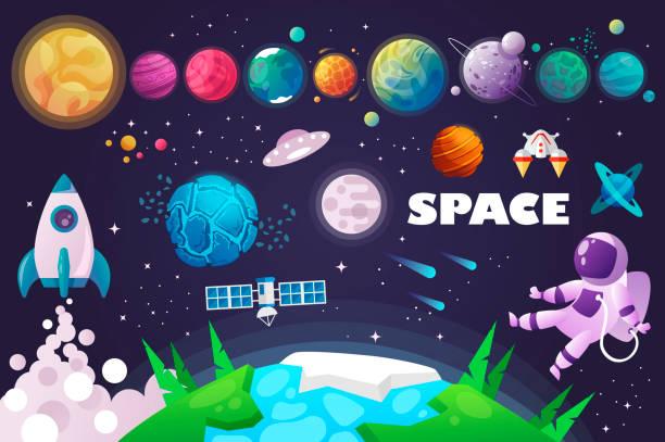 universe. space. space trip. design. universe. space. space trip. design. vector illustration planet space stock illustrations