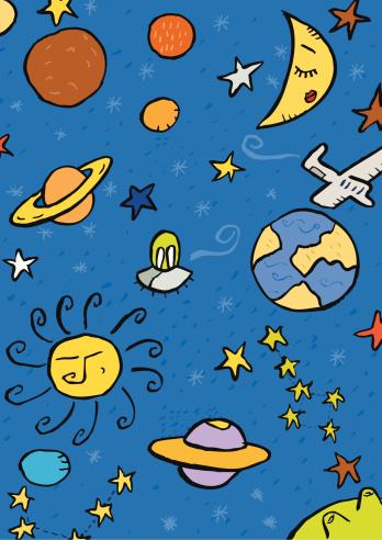 universe. Sun, moon, planets, stars