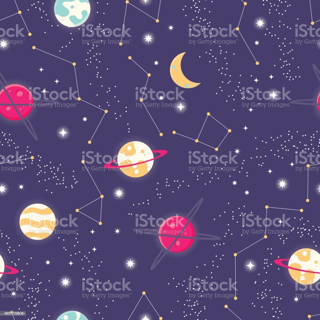 Universe With Planets And Stars Seamless Pattern Cosmos Starry Night