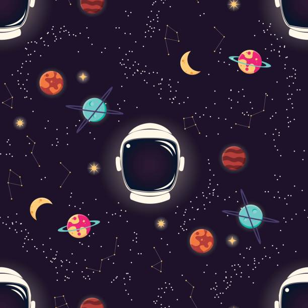 Universe with planets, stars and astronaut helmet seamless pattern, cosmos starry night sky, vector illustration vector art illustration