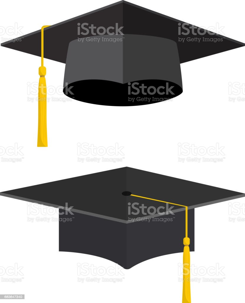 University academic graduation caps vector art illustration