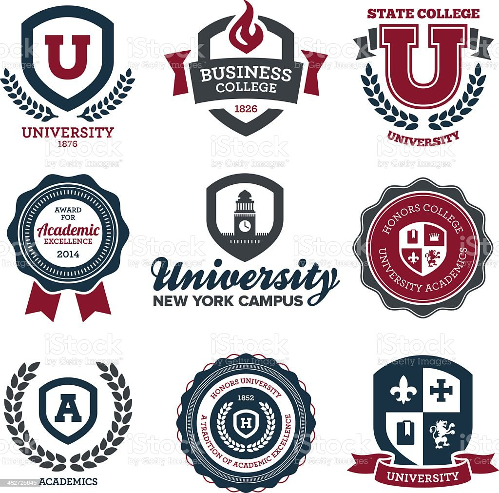 University y la Universidad crests - ilustración de arte vectorial
