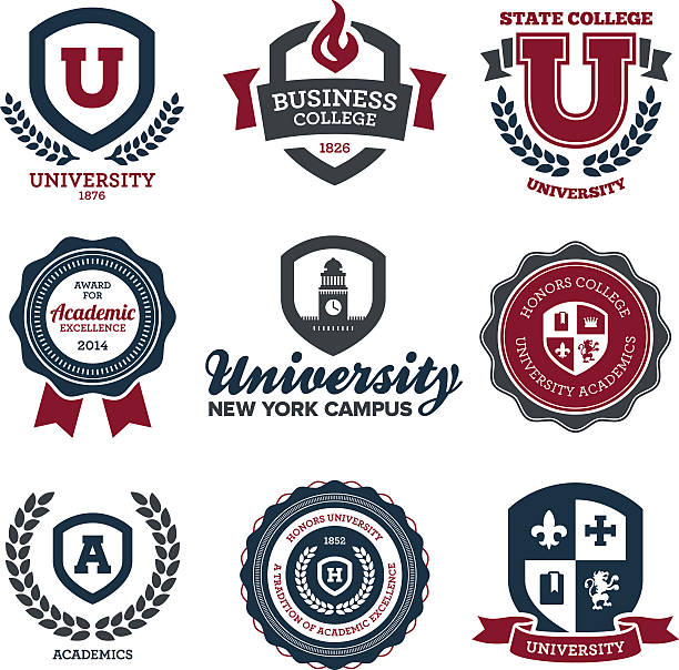university and college crests - university stock illustrations, clip art, cartoons, & icons
