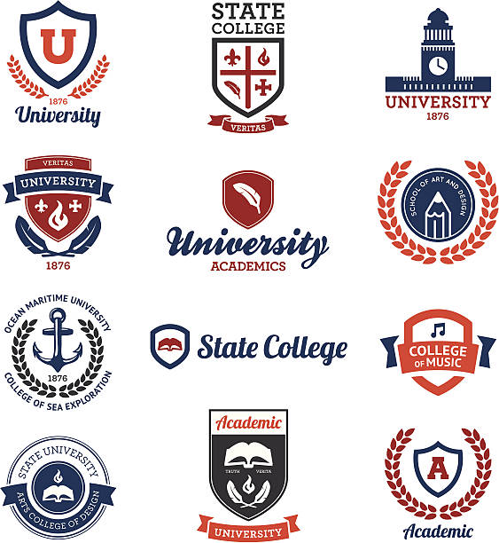 university and college emblems - university stock illustrations, clip art, cartoons, & icons