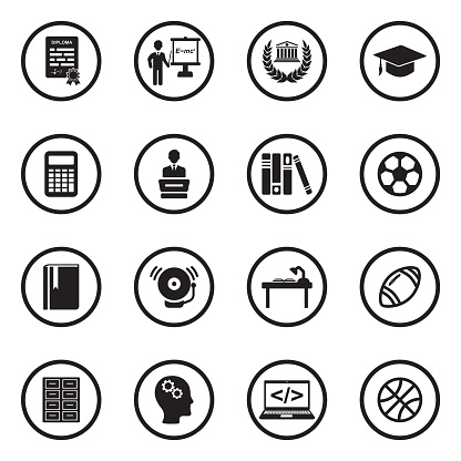 University And College Icons. Black Flat Design In Circle. Vector Illustration.