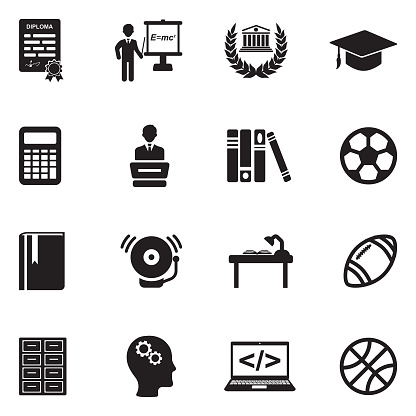 University And College Icons. Black Flat Design. Vector Illustration.