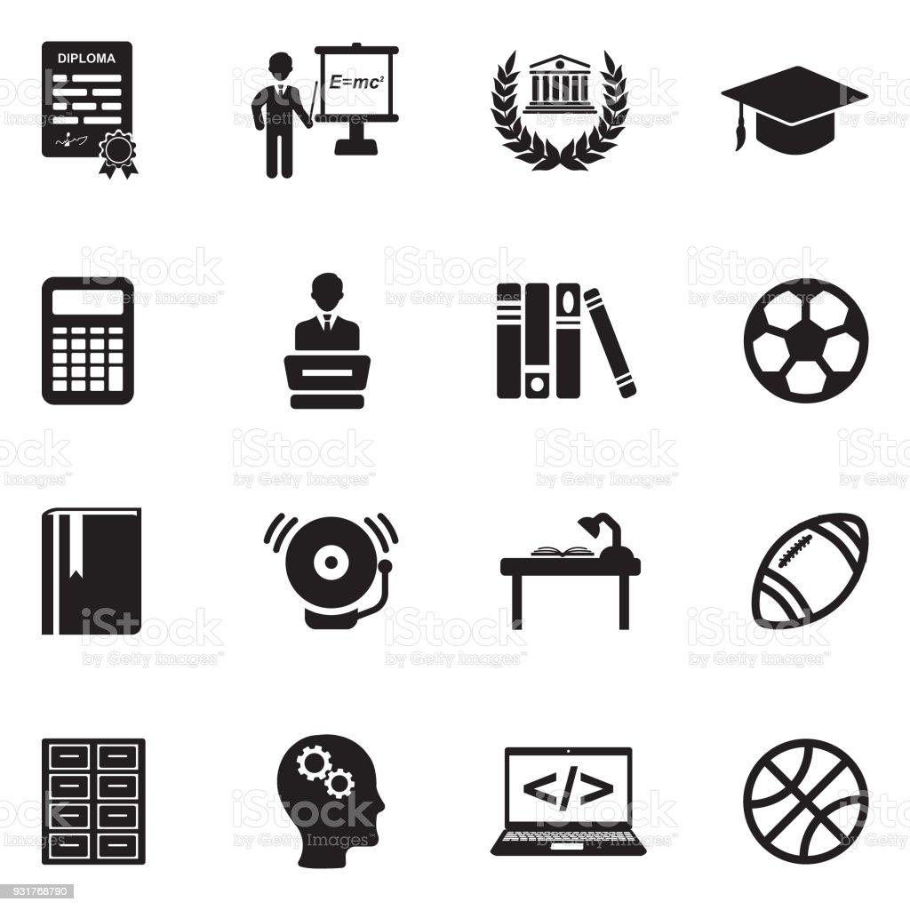 University And College Icons. Black Flat Design. Vector Illustration. vector art illustration