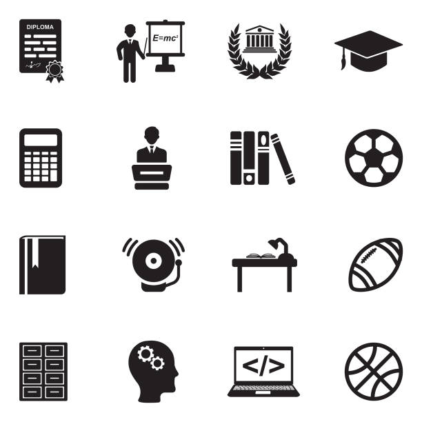 university and college icons. black flat design. vector illustration. - high school sports stock illustrations, clip art, cartoons, & icons