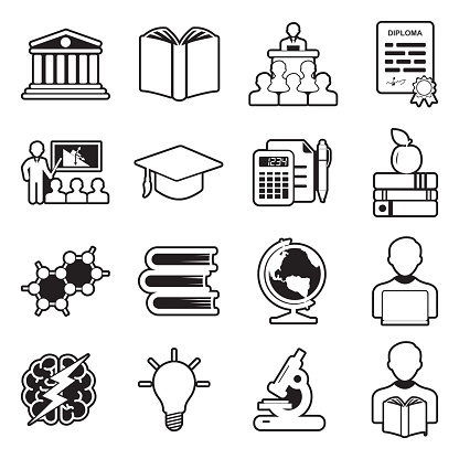 University And College Icons. Line With Fill Design. Vector Illustration.