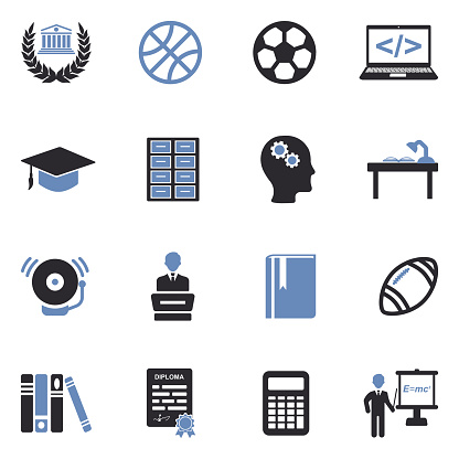 University And College Icons. Two Tone Flat Design. Vector Illustration.
